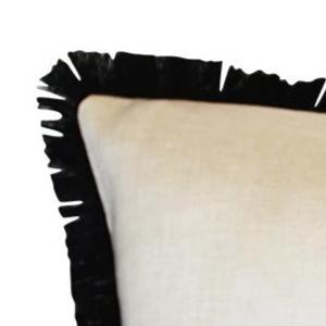 Coastal Fringe Cushion Cover - Natural with Black Fringe
