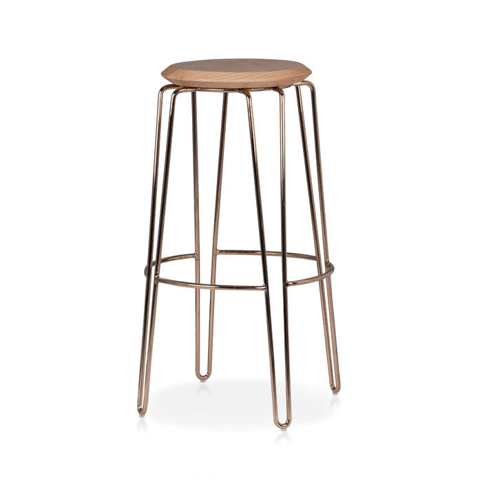 Olsen Stool - 75cm - Rose Gold/Natural