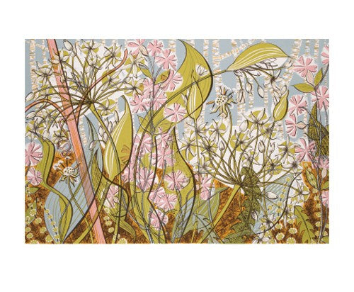 Angie Lewin Blank Card - Ramsons & Campion
