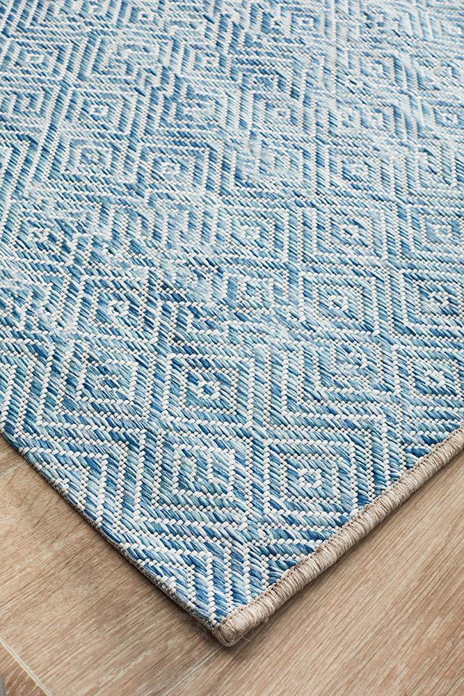 Terrace Diamond - Indoor/Outdoor Runner - Blue