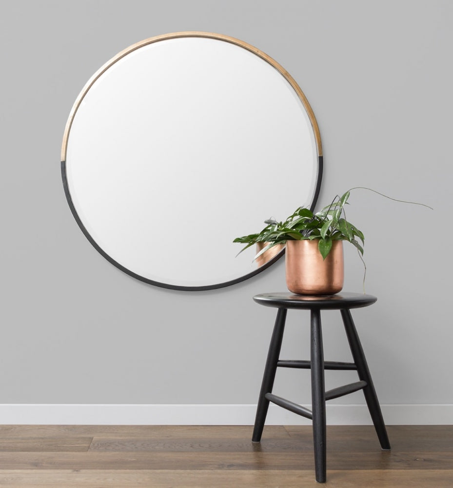 Two Tone Half Moon Mirror - Black/Brass