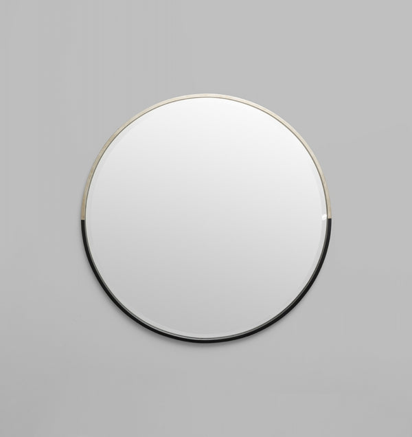 Two Tone Half Moon Mirror - Black/Silver