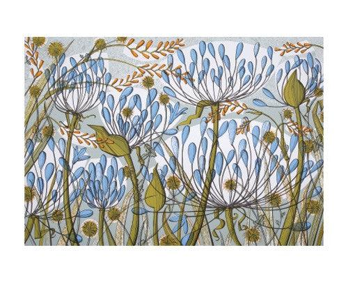 Angie Lewin Blank Card - Agapanthus II