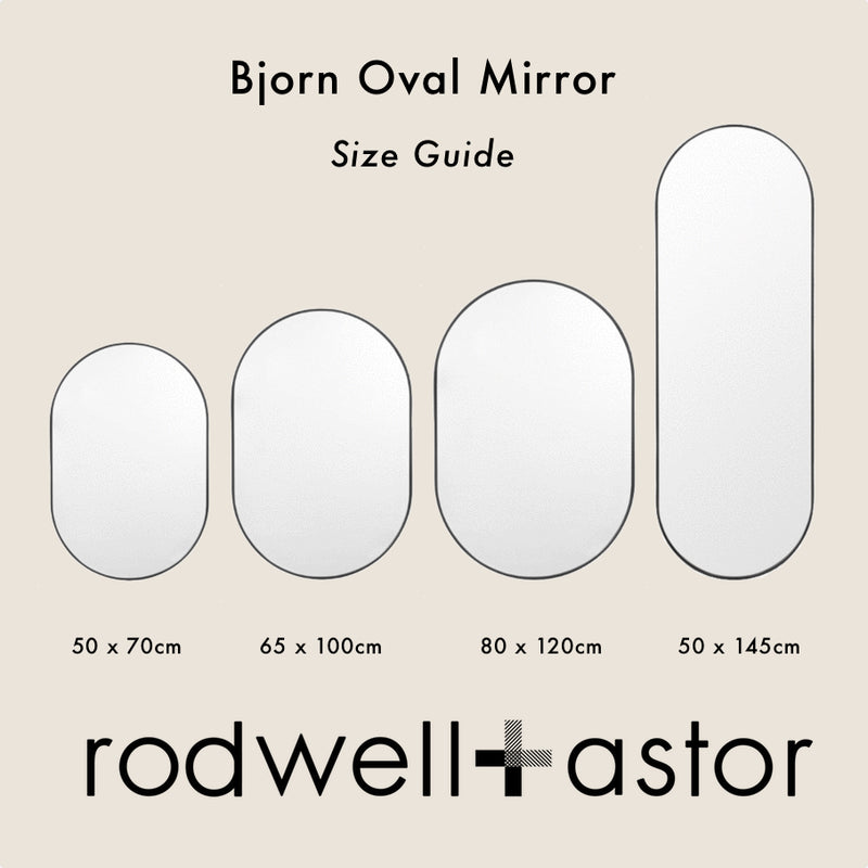 MIDDLE OF NOWHERE Bjorn Oval Mirror - Powder - 3 Sizes Available