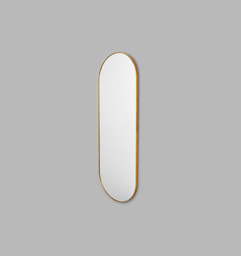 MIDDLE OF NOWHERE Bjorn Long Oval Mirror Brass