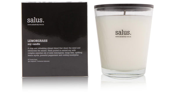 SALUS Soy Candle - Lemongrass. Hand pores Souy Candle. Rodwell and Astor Brunswick