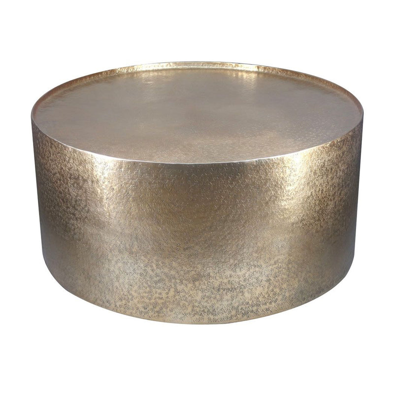 Hammered Metal Drum Coffee Table - Gold