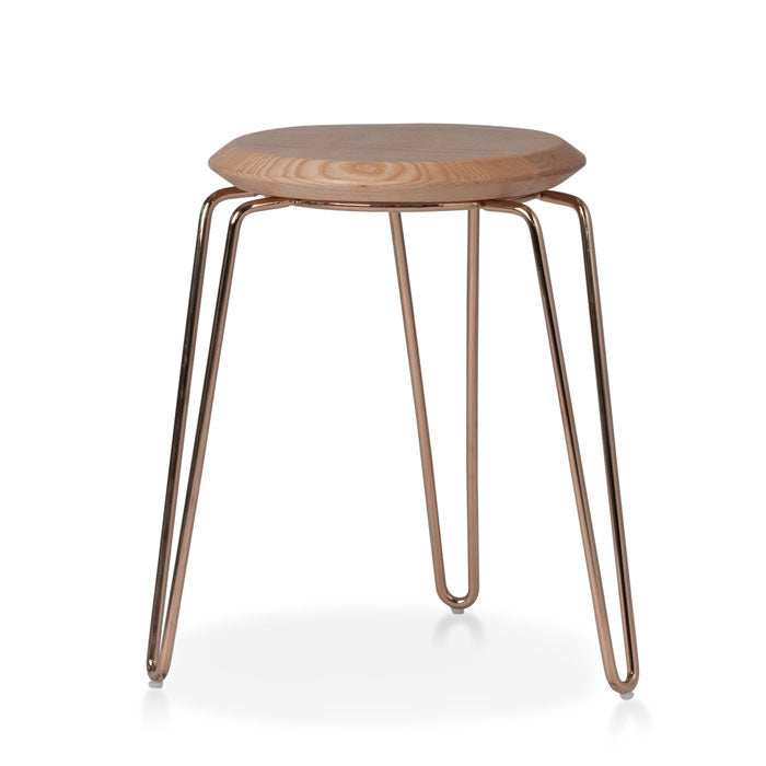 Olsen Stool - 45cm - Rose Gold/Natural