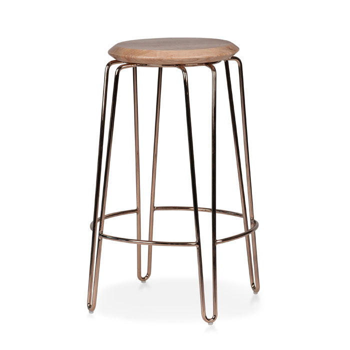 Olsen Stool - 65cm - Rose Gold/Natural