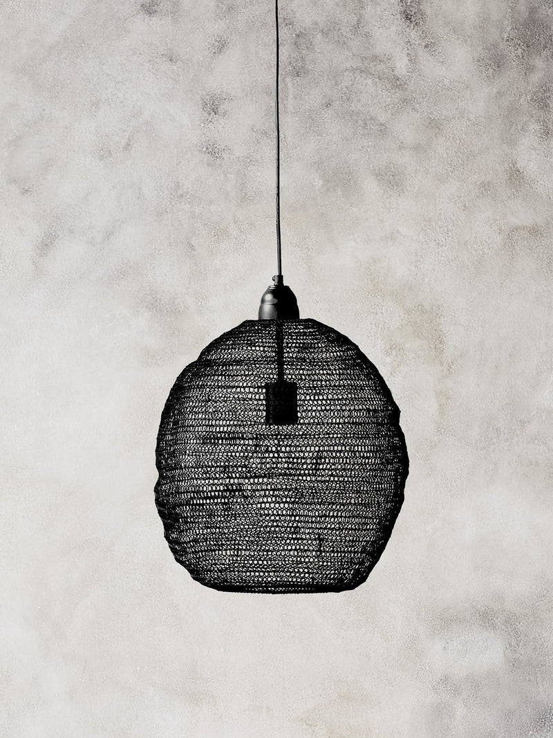 Wire Crochet Pendant Light - Ball - Large - Black