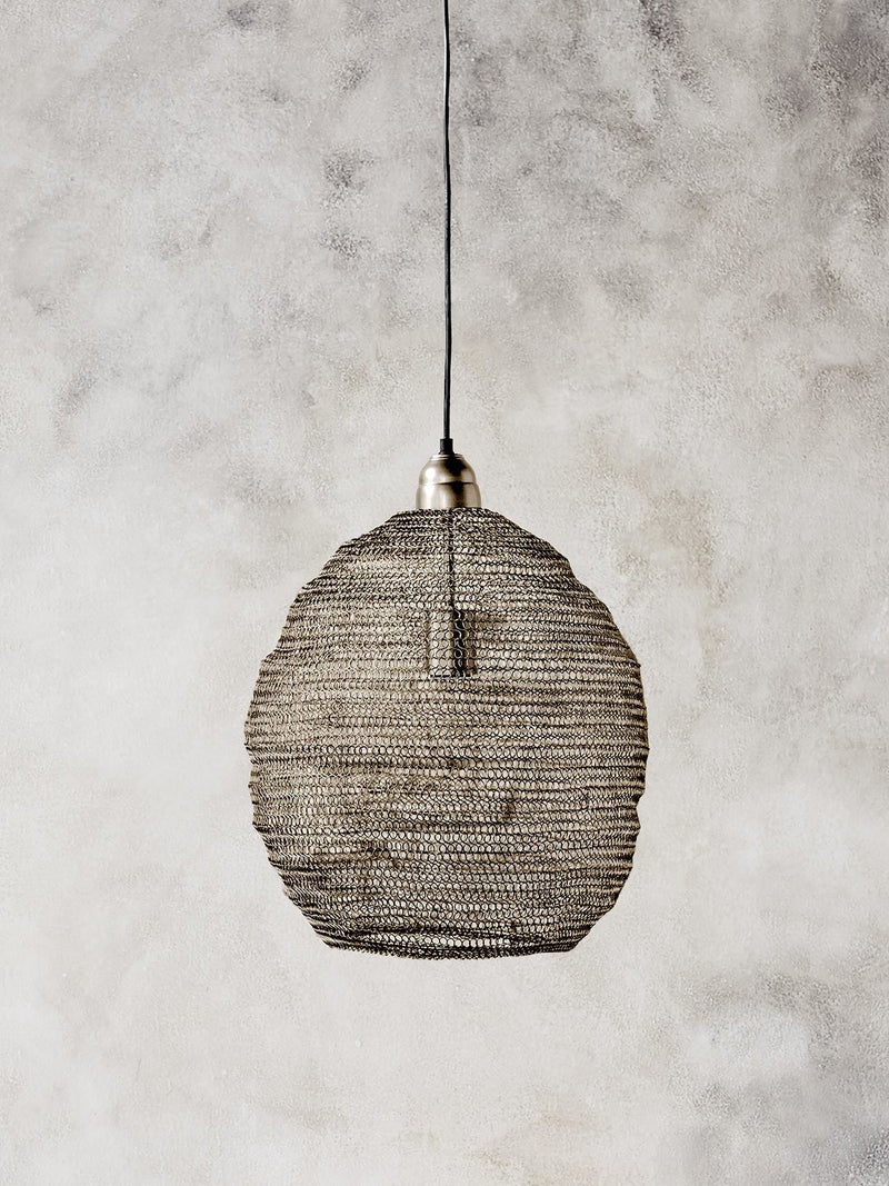 Wire Crochet Pendant Light - Ball - Large - Matt Gold