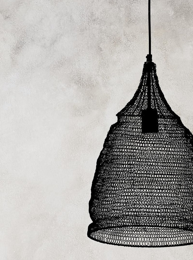 Wire Crochet Pendant Light - Cone Large - Black
