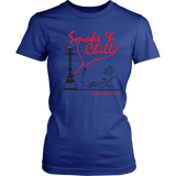 Smoke and Chill Women's Hookah Shirt (Black Logo)