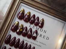 Load image into Gallery viewer, ALMOND Red Wine Valentine Nail Art Full Set 28 pcs