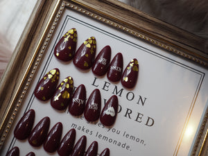ALMOND Red Wine Valentine Nail Art Full Set 28 pcs