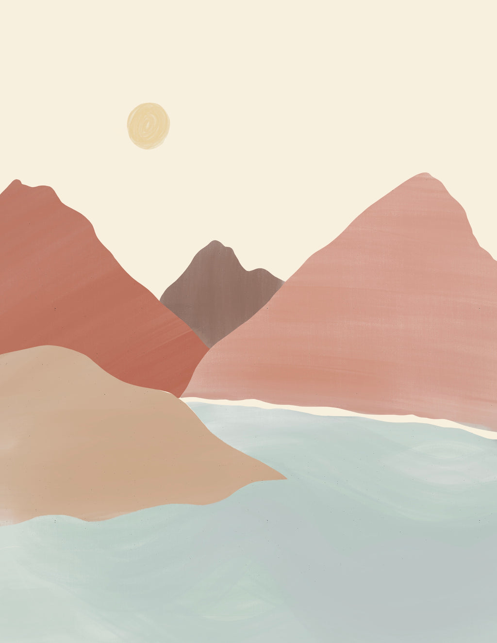 Neutral Abstract Mountain Range Print