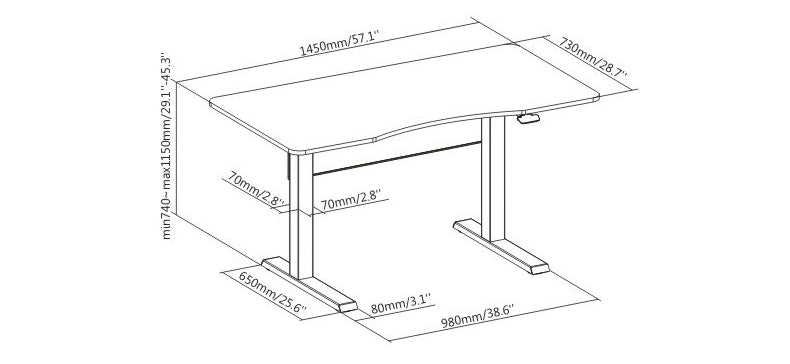 manual standing desk diagram