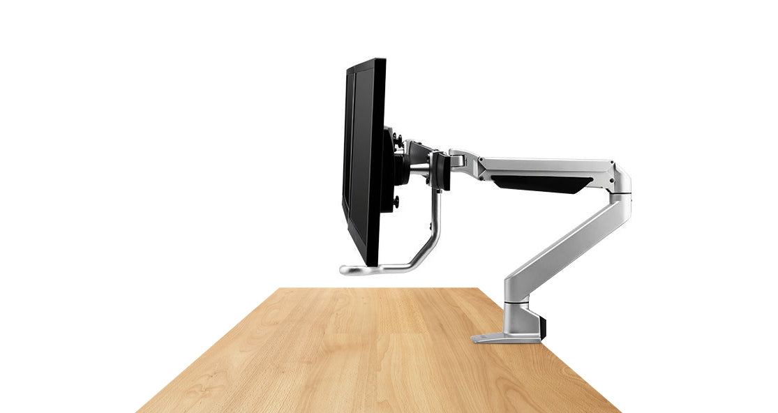 dual bar monitor arm fitted to desk