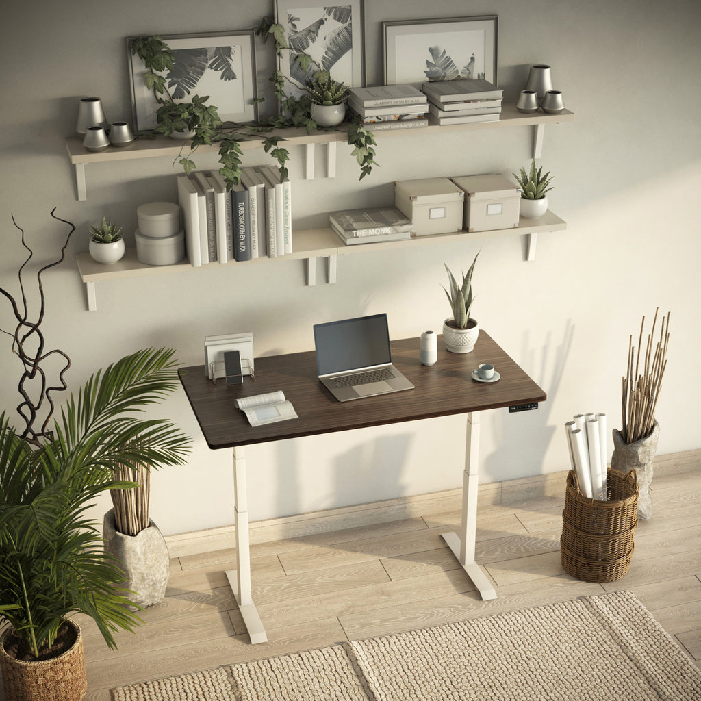 bamboo desk in home office