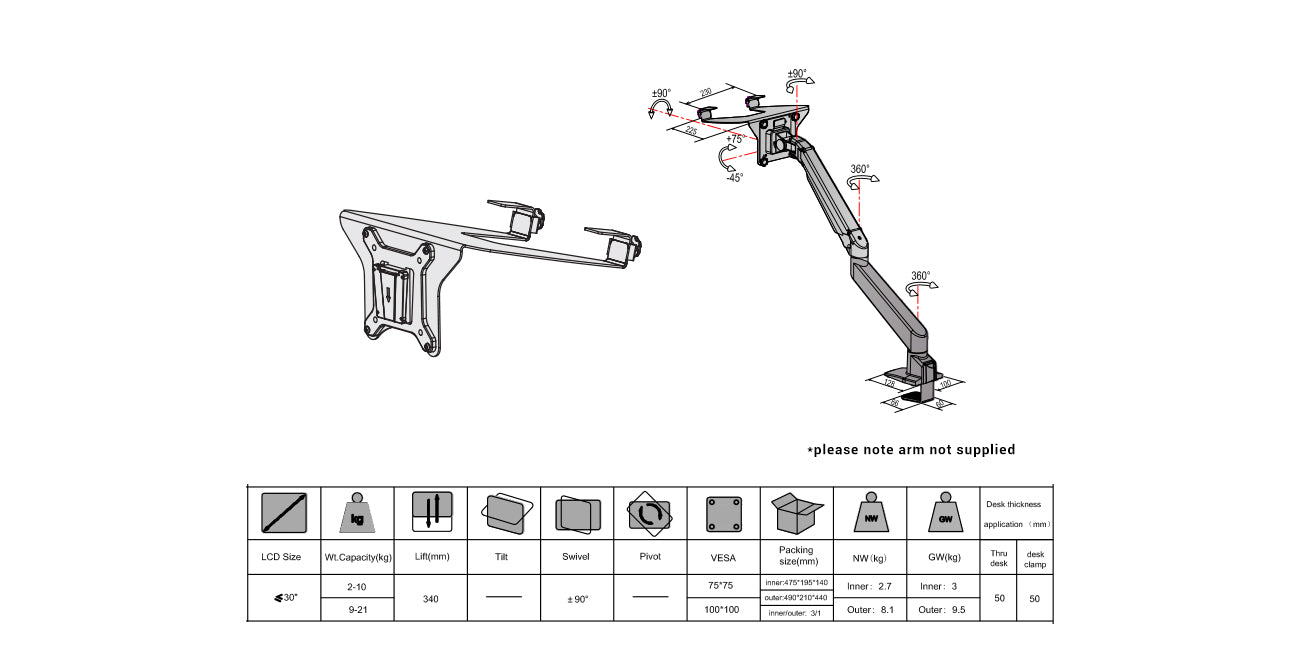monitor arm and laptop mount diagram