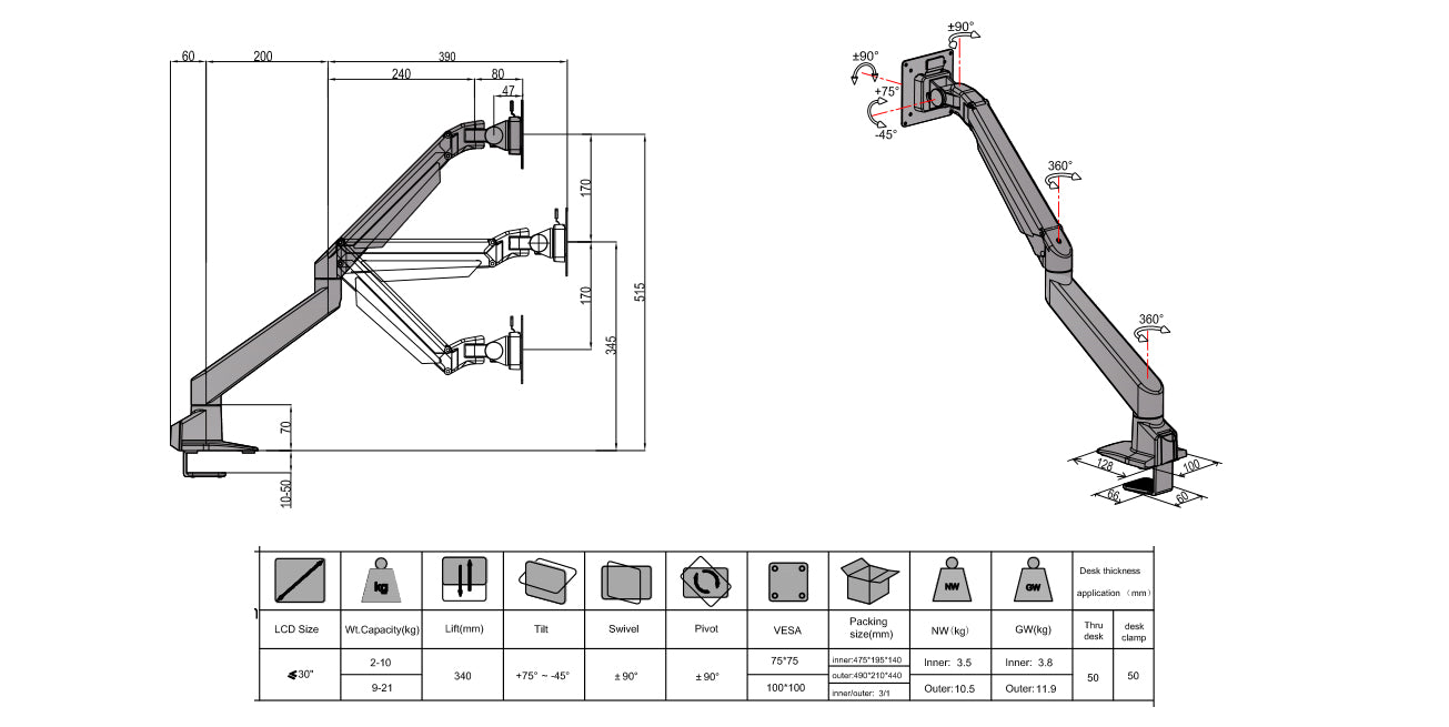 single monitor arm dimensions