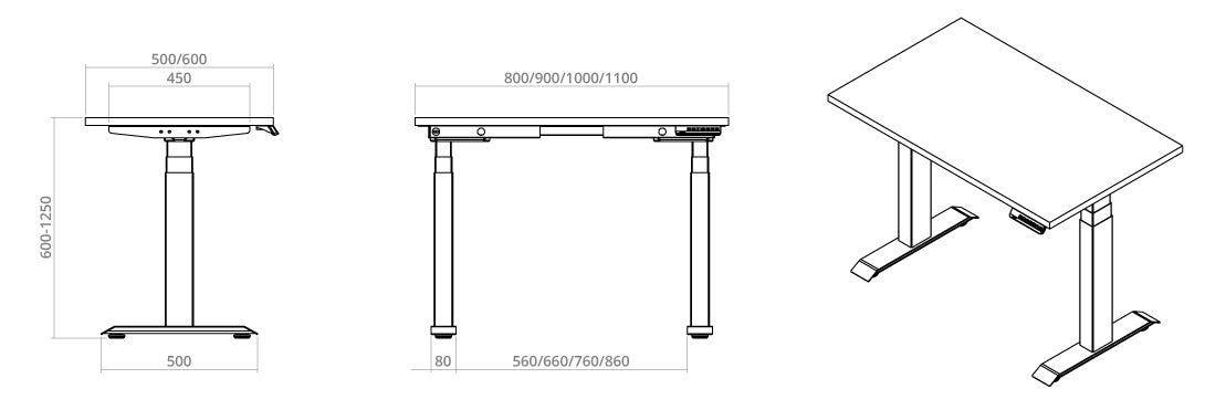 standing desk frame diagram for small spaces