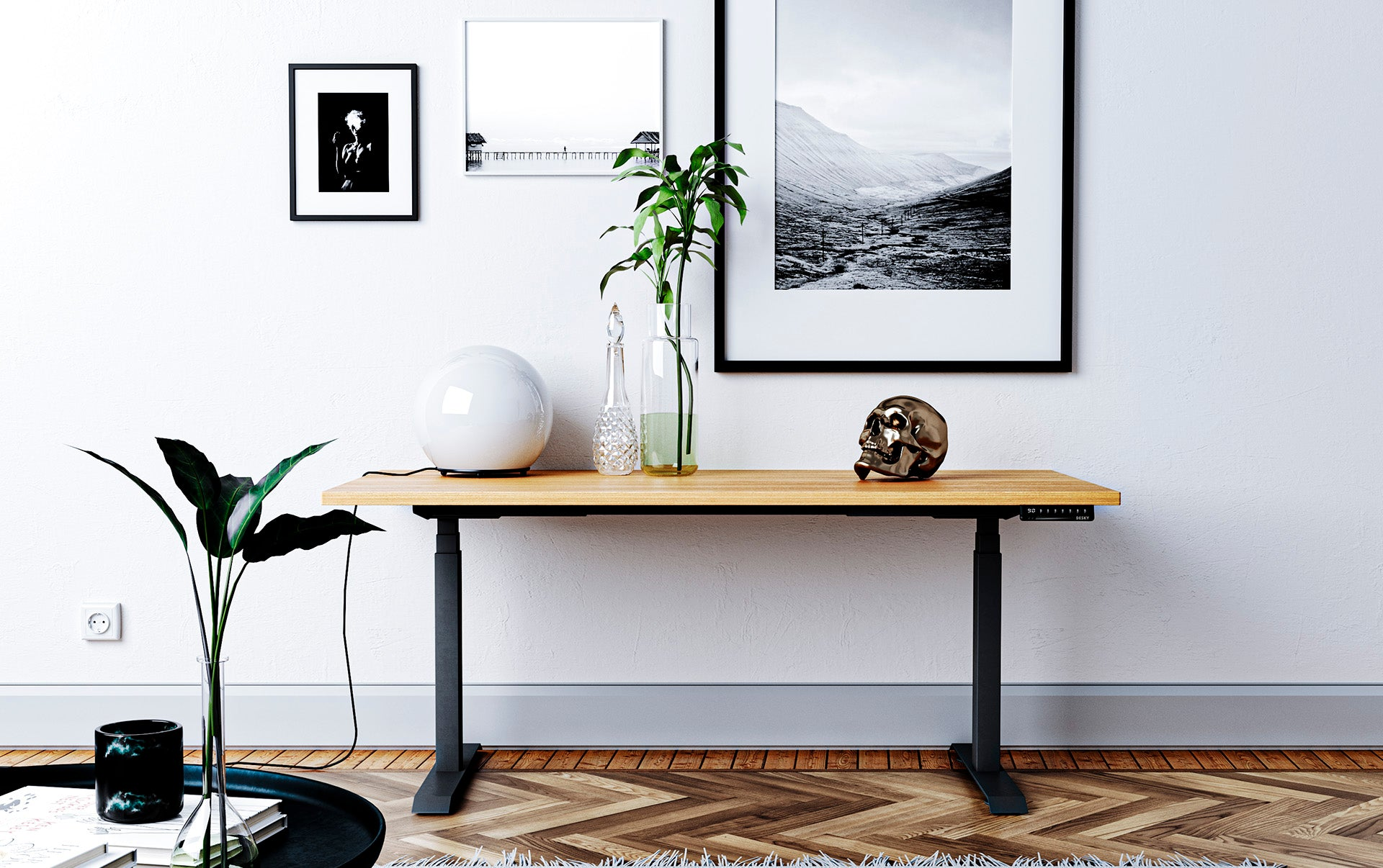 sit stand desk with bamboo top