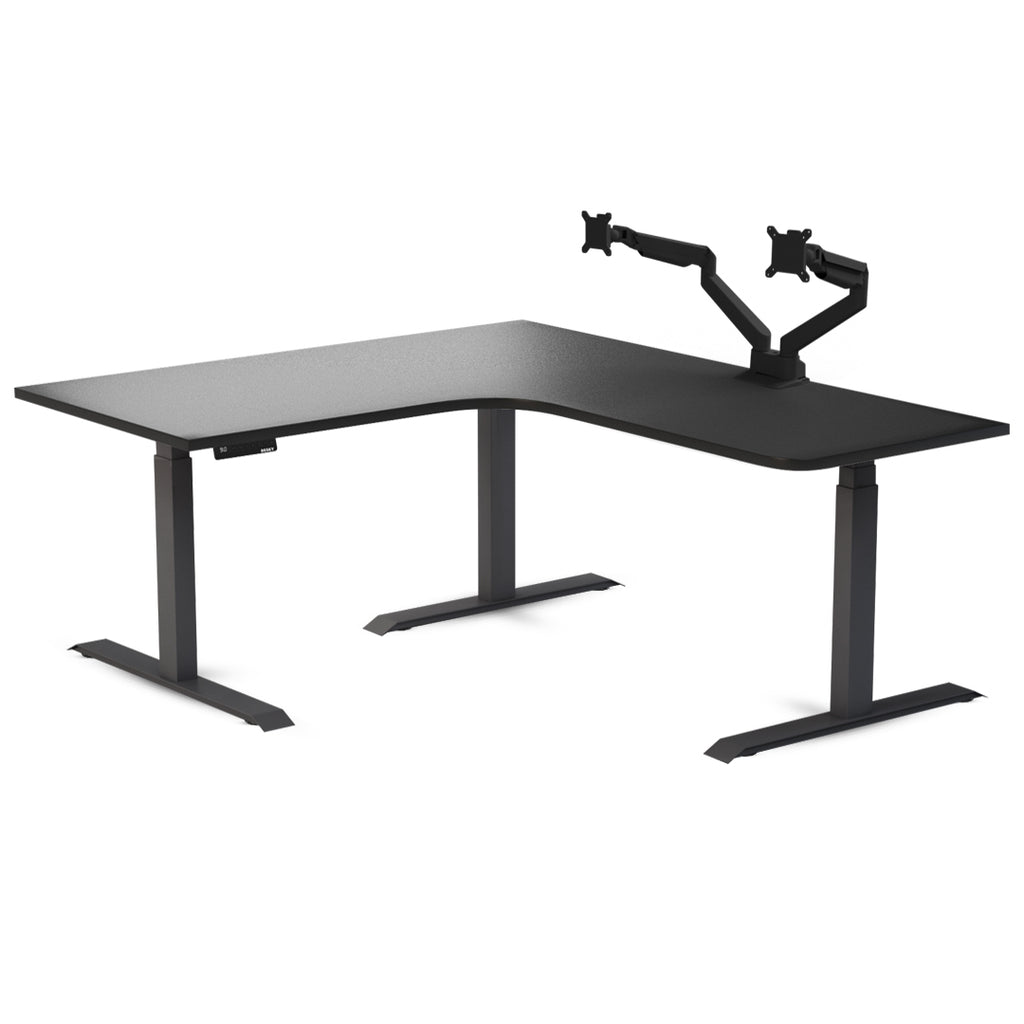 l shaped caming desk with monitor arms