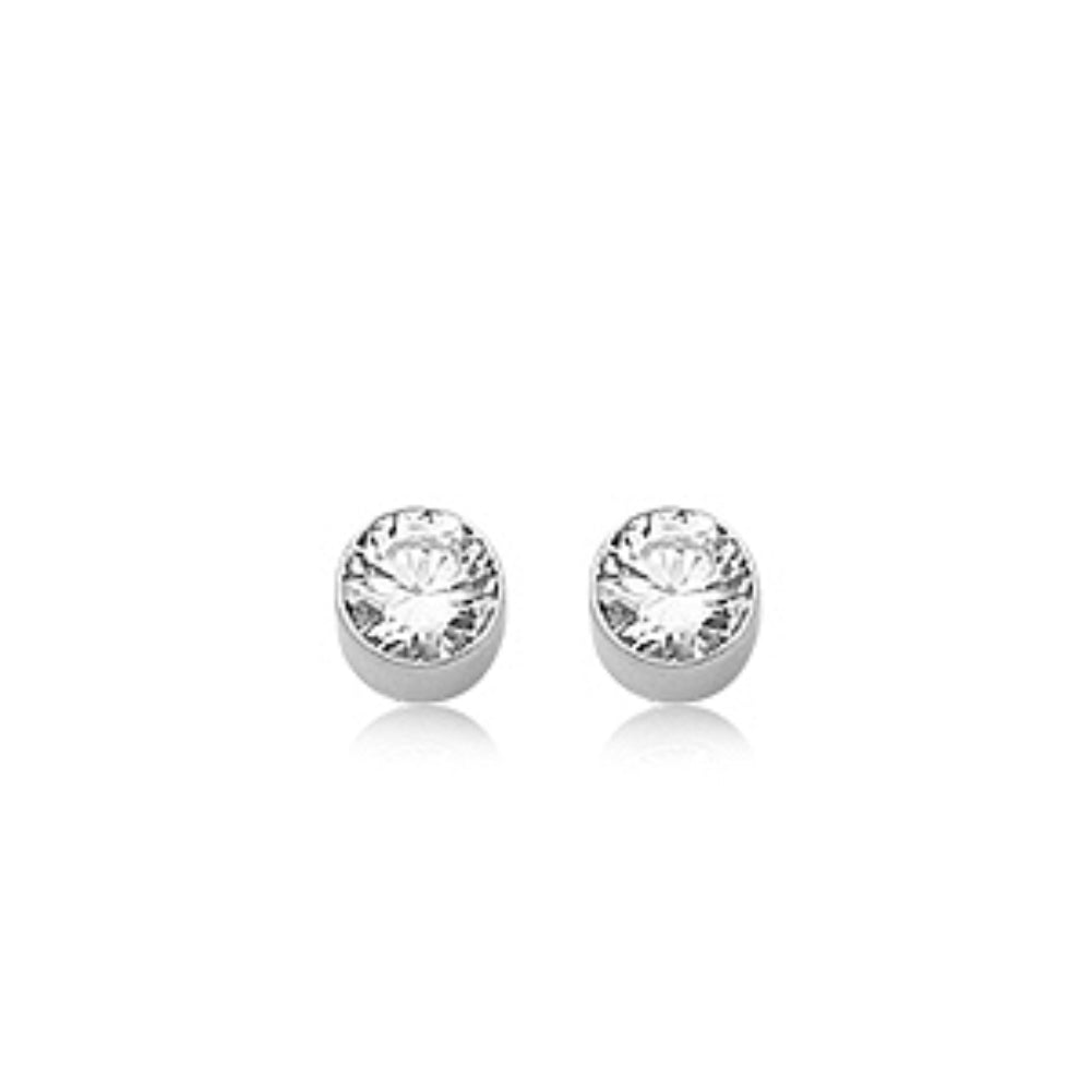 5mm Round Cubic Zirconia & 14K Gold Stud Earrings