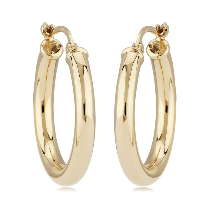 14K Gold 3 x 20mm Round Polished Hoop Earrings