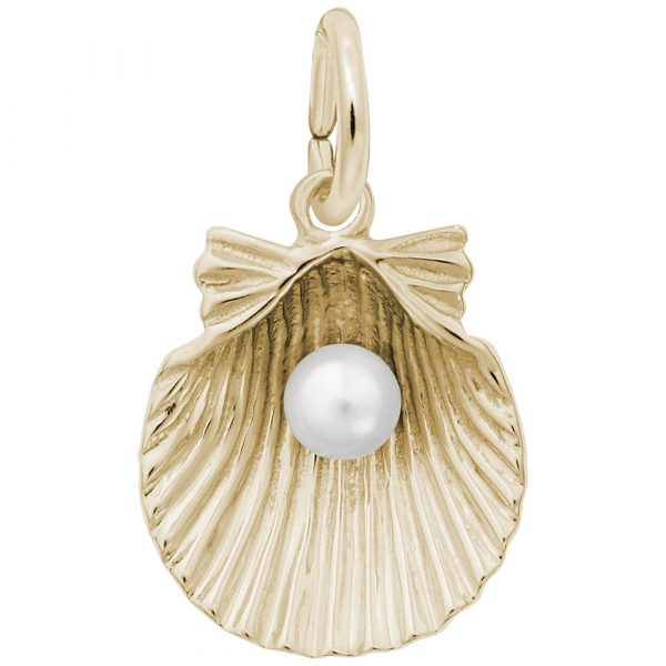 14K Yellow Gold Shell with Pearl Charm