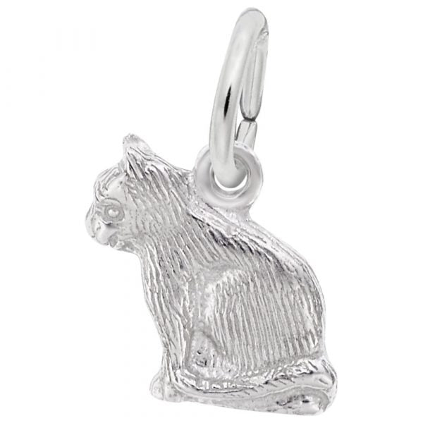 Sterling Silver Cat Profile Charm