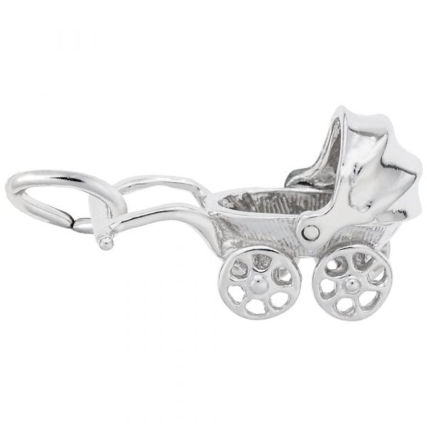 Sterling Silver Canopy Baby Carriage Charm