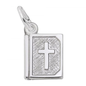 Sterling Silver Bible with Cross Charm