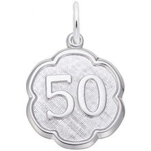 Load image into Gallery viewer, Sterling Silver Number 50 Scalloped Edge Charm
