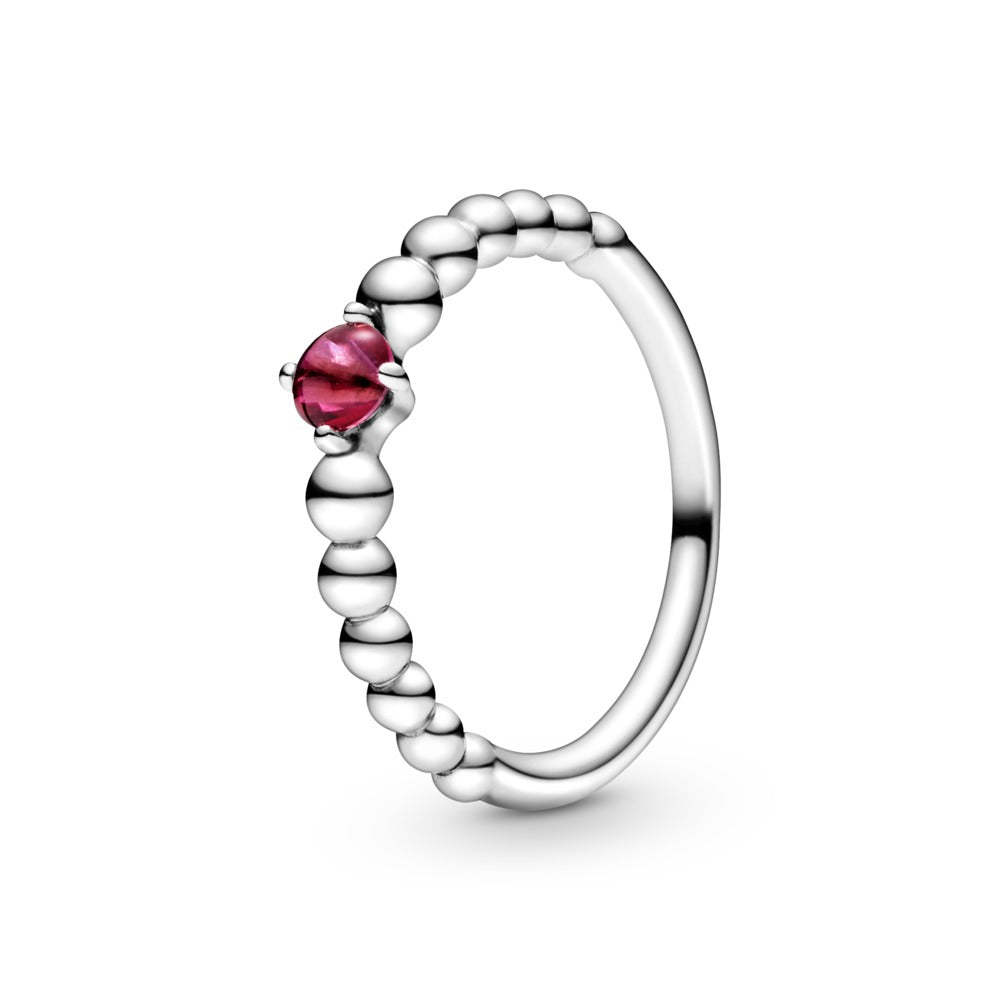 Pandora July Blazing Red Beaded Ring