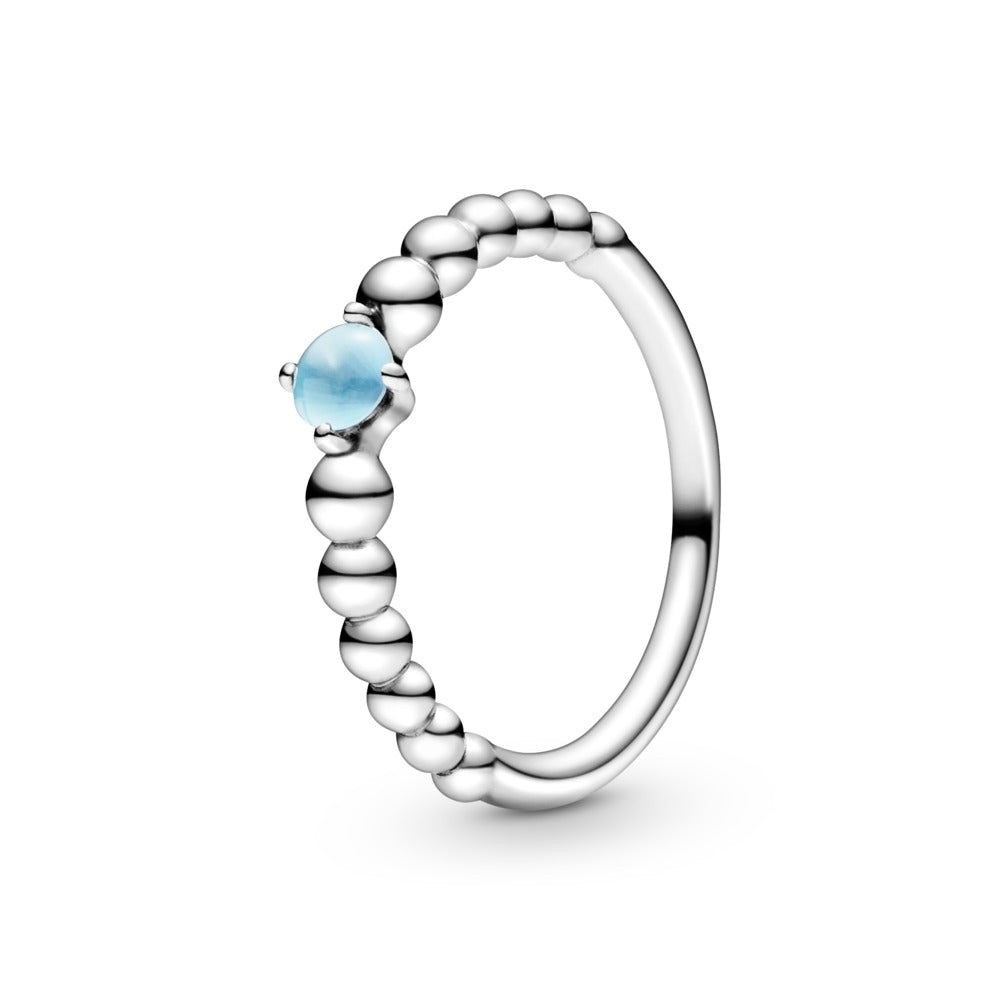 Pandora December Sky Blue Beaded Ring