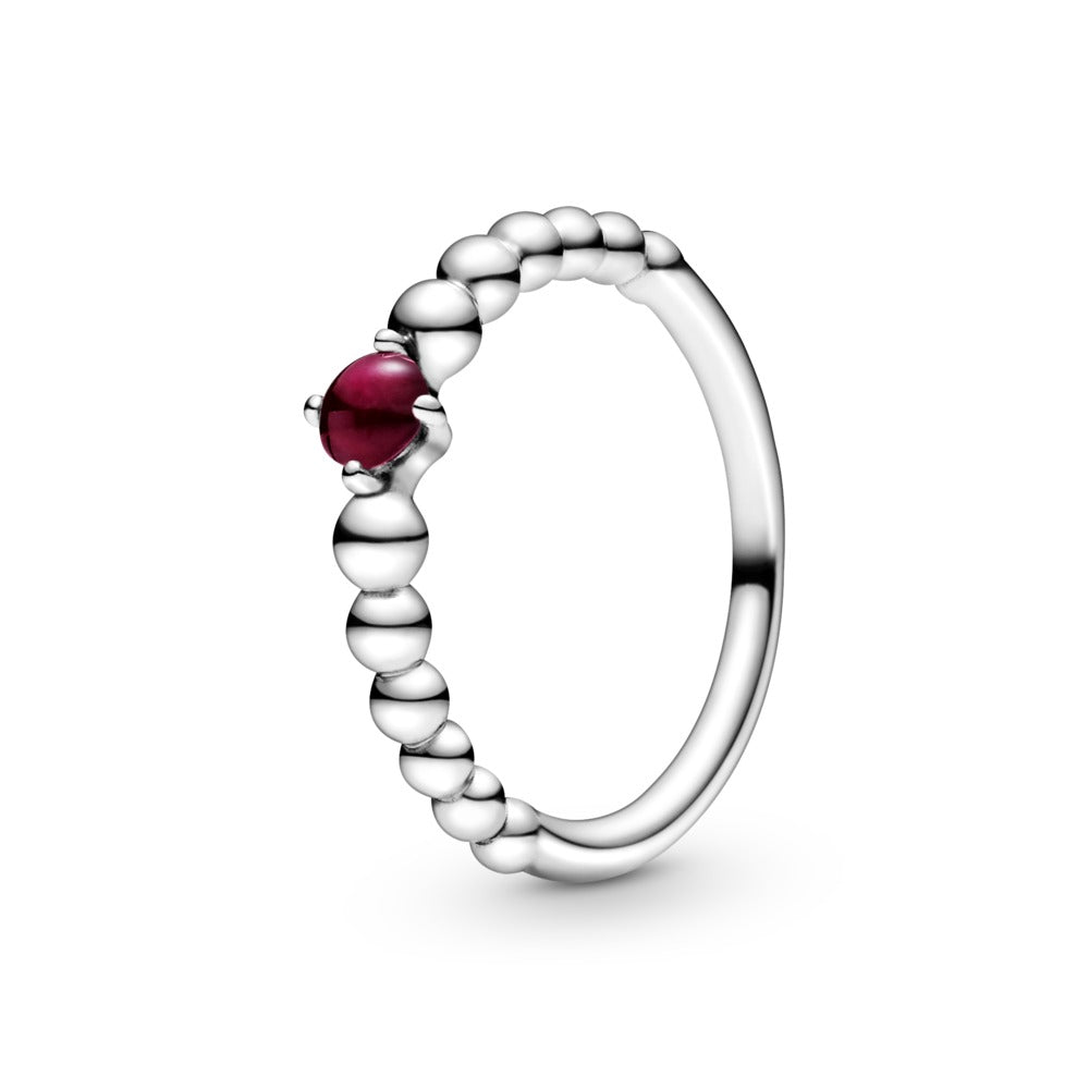 Pandora January Dark Red Beaded Ring