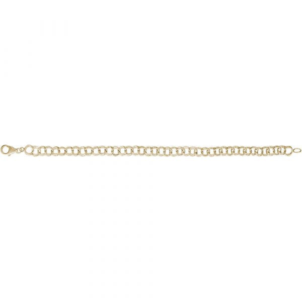 14K Yellow Gold Double Link Charm Bracelet