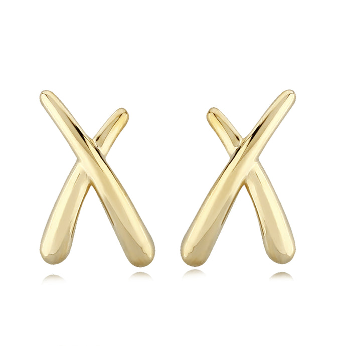 "14K Gold ""X,"" Stud Earrings"
