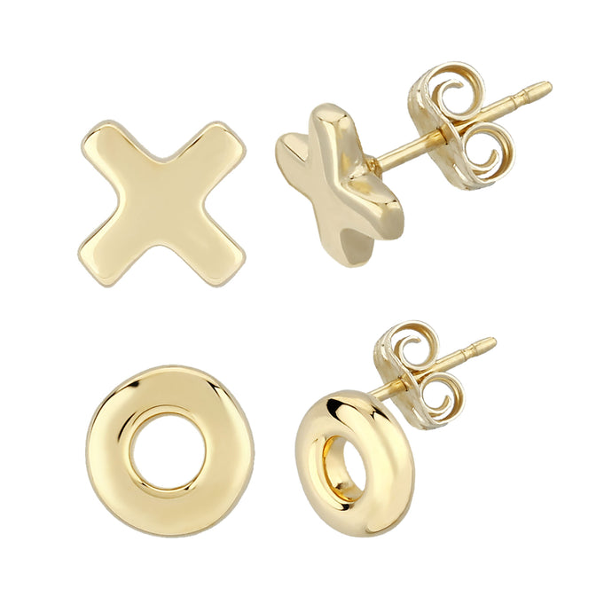 14K 8mm Hug & Kiss Stud Earrings