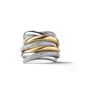 Judith Ripka Eternity Highway Seven Band Ring with 18k Gold