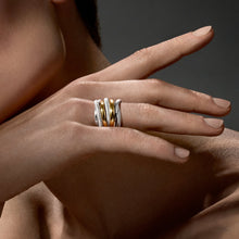 Load image into Gallery viewer, Judith Ripka Eternity Highway Seven Band Ring with 18k Gold
