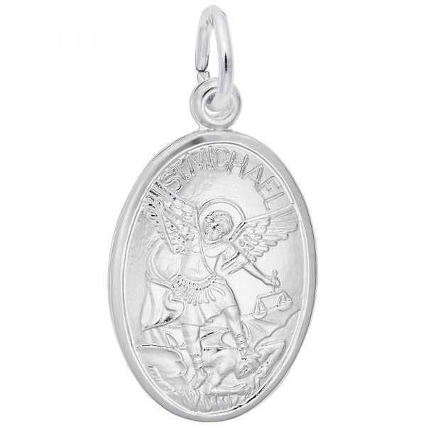 Sterling Silver St. Michael Oval Charm