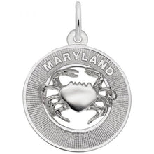 Load image into Gallery viewer, Sterling Silver Maryland Crab Charm