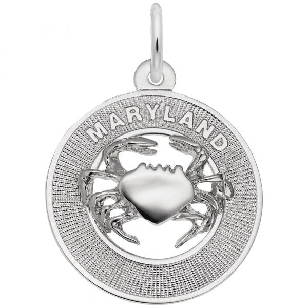 Sterling Silver Maryland Crab Charm