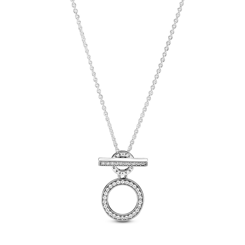 Pandora Double Hoop T-bar Necklace