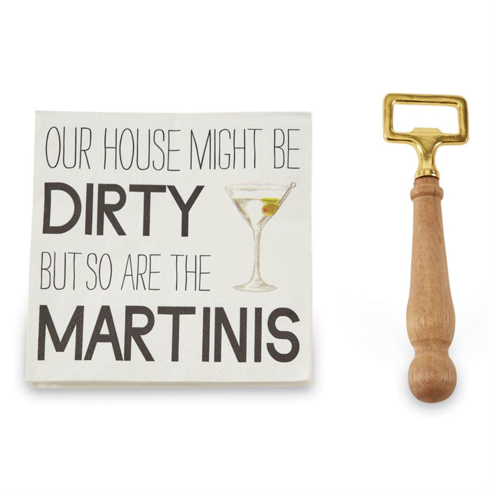 Mud Pie Martini Napkin Set with Bottle Opener