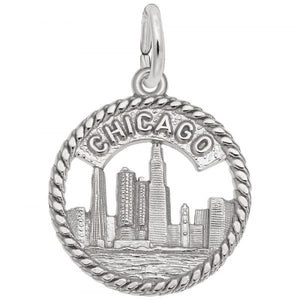 Sterling Silver Chicago Skyline Charm