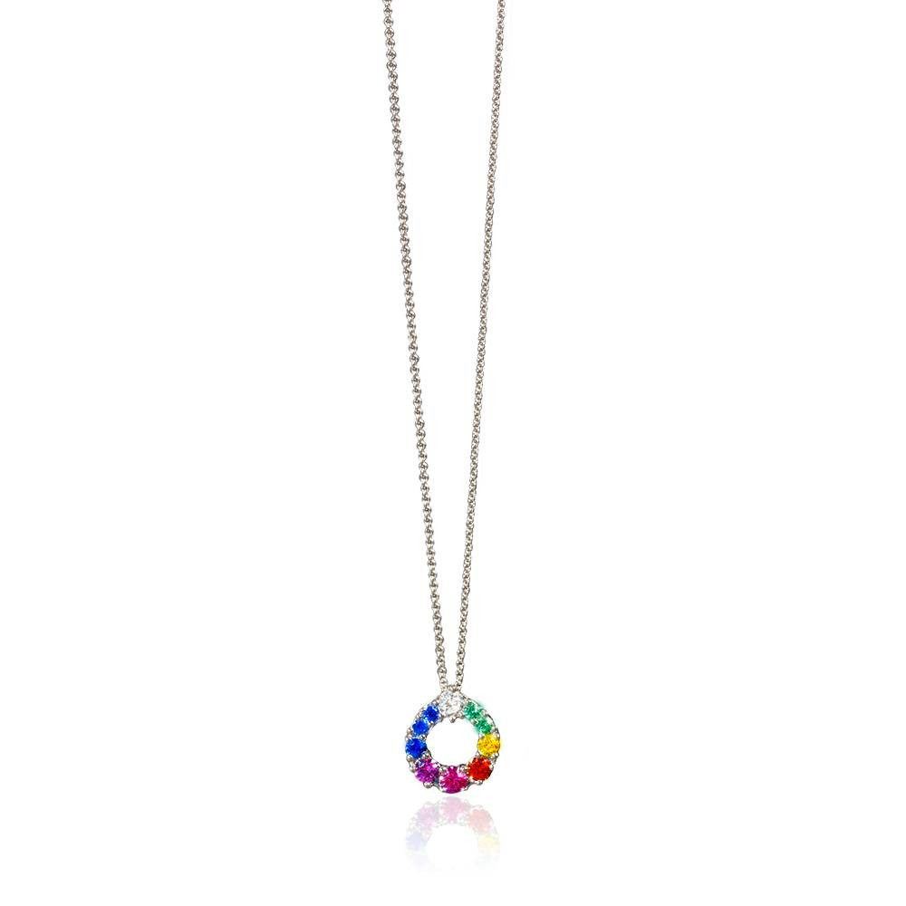 14k White Gold Multi-Colored Sapphire and Diamond Circle Pendant